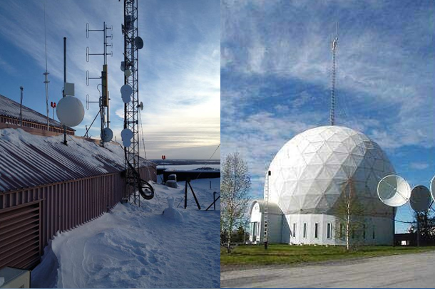 An Iristel base station in Yellowknife, NT (left) and an ICE Wireless data centre in Inuvik, NT (right)